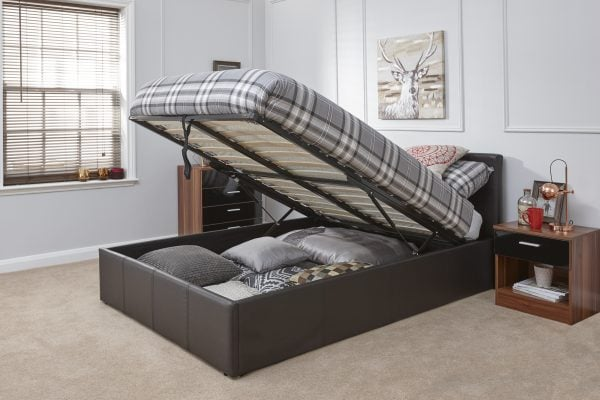 Arizona Brown Leather Ottoman Bed Frame