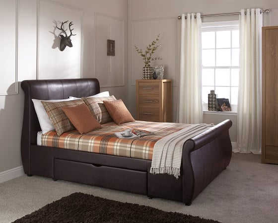 Maine Brown Drawer Bed Frame