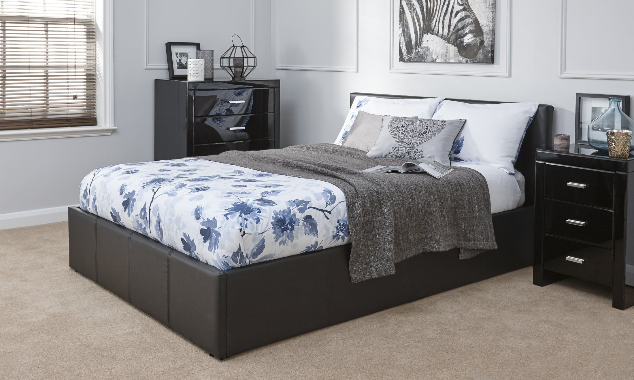 Double Arizona Black Ottoman Bed Frame - Dublin Beds