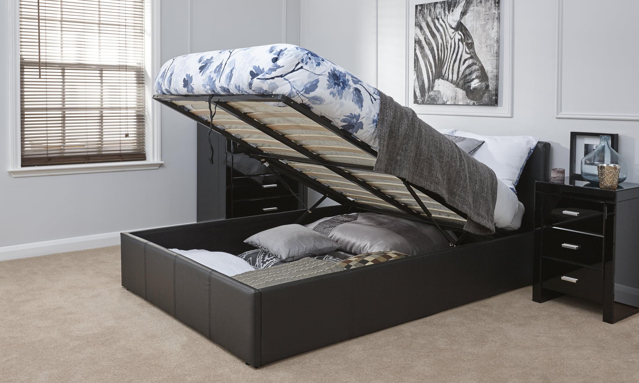 Arizona Black Leather Ottoman Bed Frame - Dublin Beds