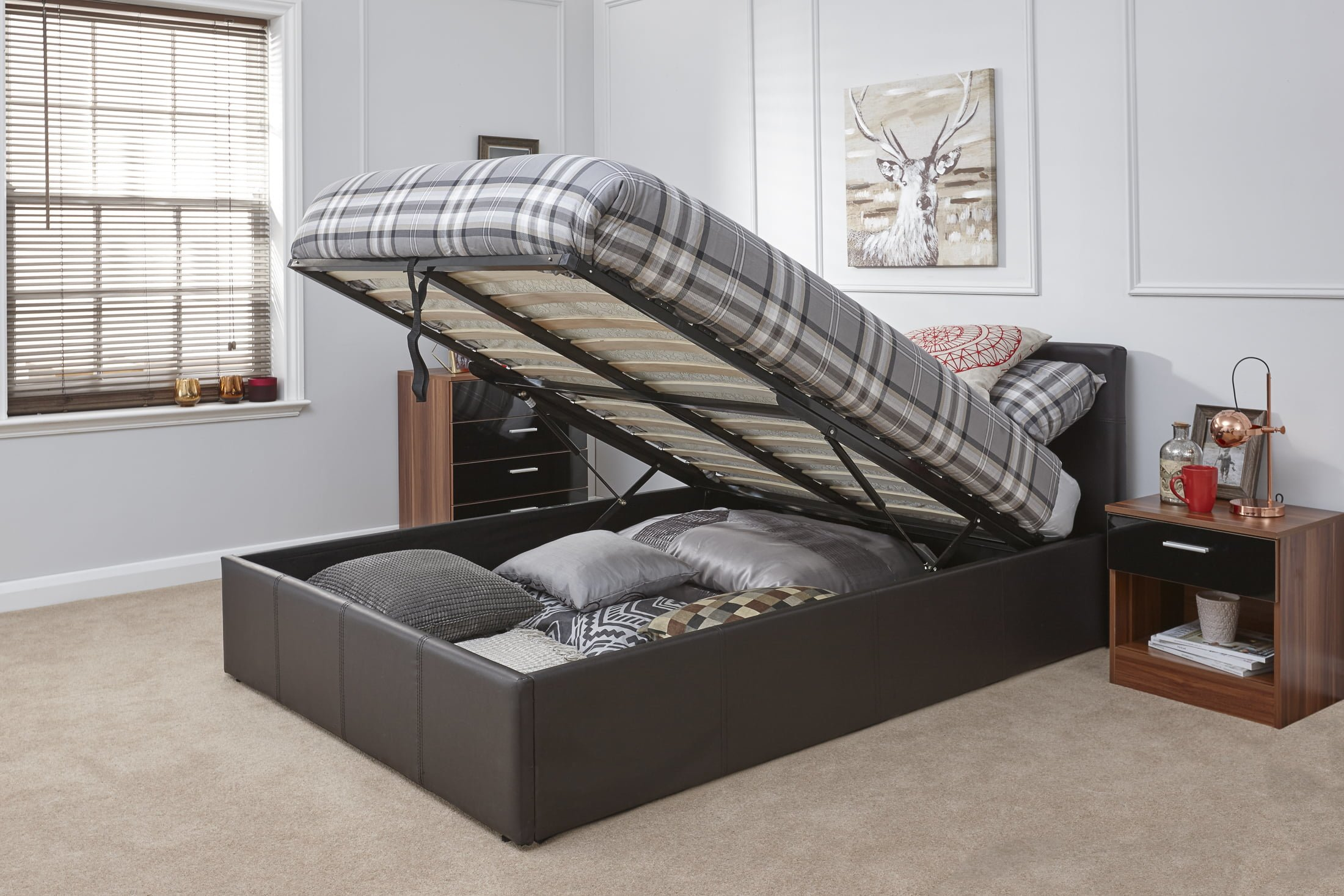 Arizona Brown Leather Ottoman Bed Frame - Dublin Beds