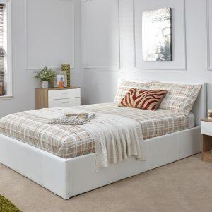 Arizona White Leather Bed Frame