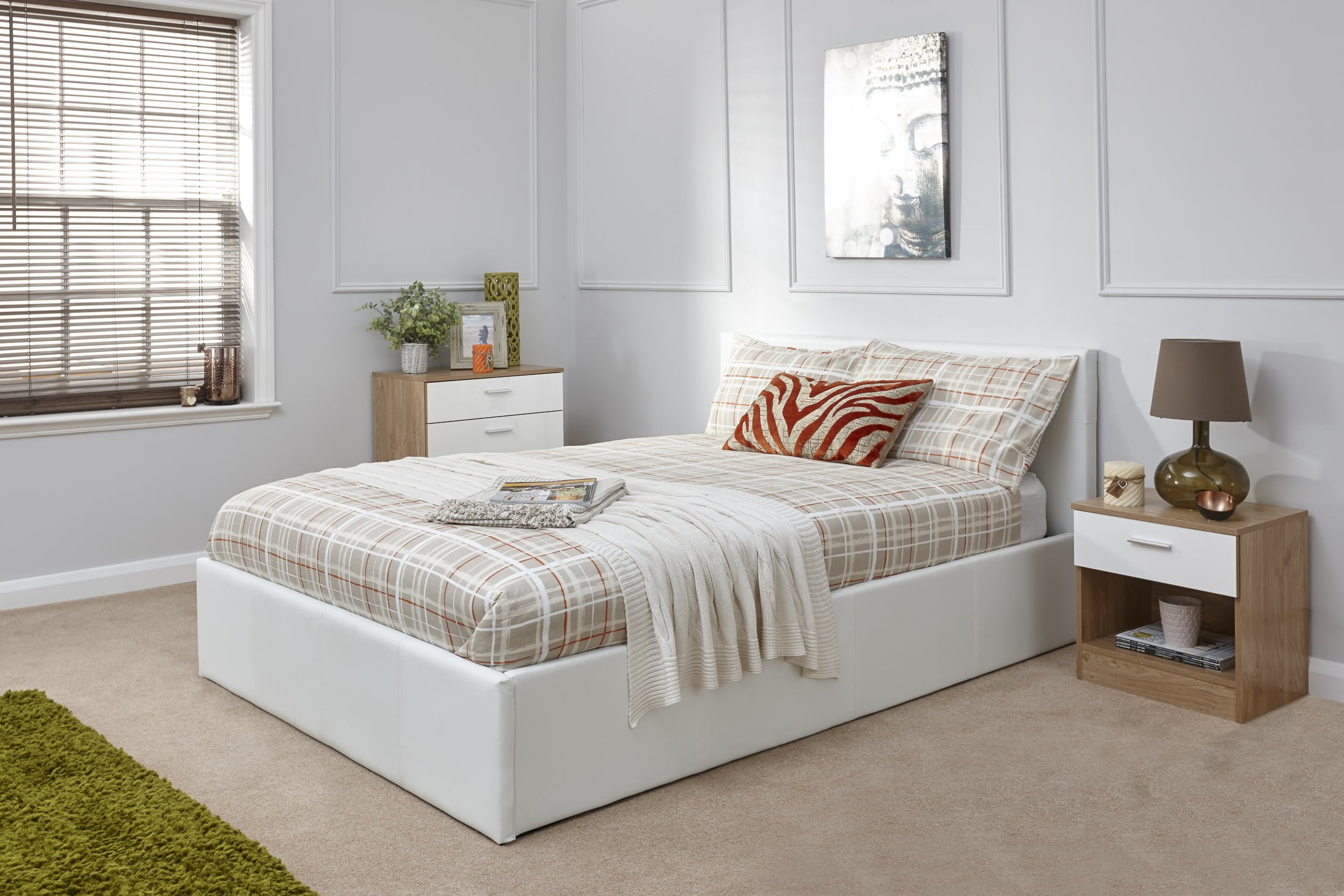 Arizona White Leather Ottoman Bed Frame - Dublin Beds