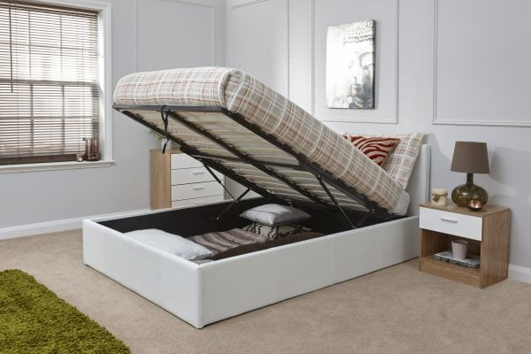 Arizona White Leather Ottoman Bed Frame