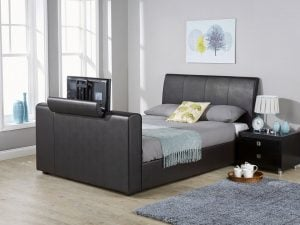Black-Leather-TV-Bed-Frame