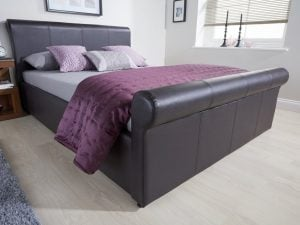 California-Brown-Leather-Ottoman-Bed-Frame