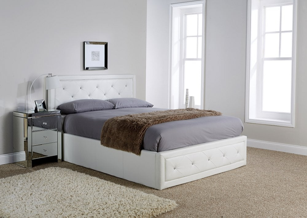 Remarkable Double Florida White Ottoman Bed Frame Ibusinesslaw Wood Chair Design Ideas Ibusinesslaworg