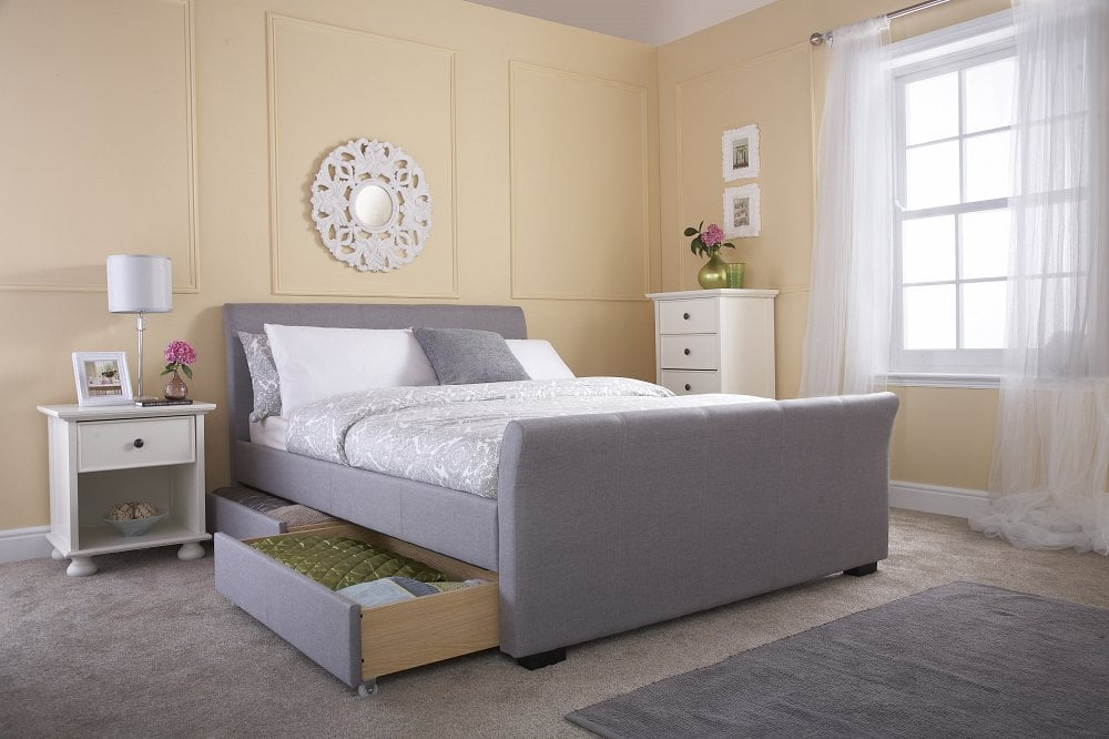 Idaho Grey Sleigh Bed Frame with Drawers - Dublin Beds