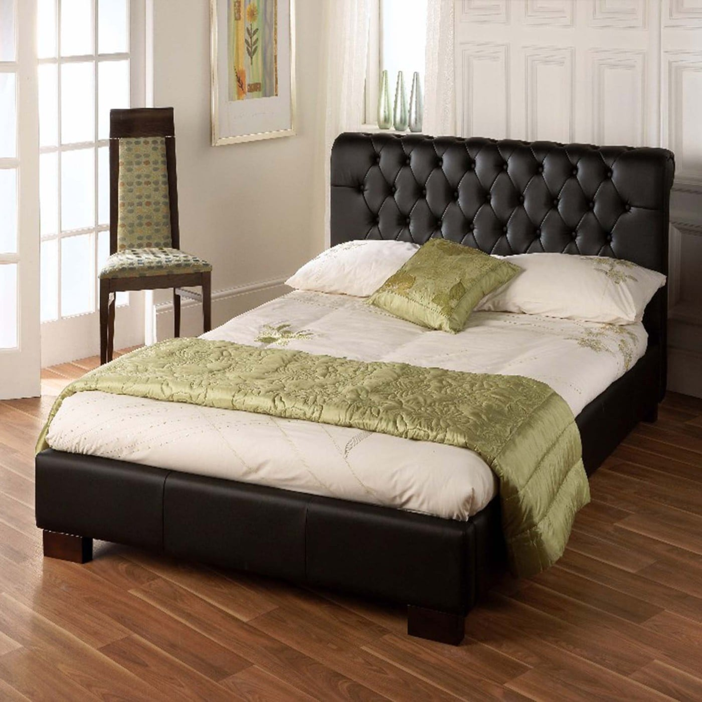 Limelight Aries Black Faux Leather Double Bed Frame - Dublin Beds