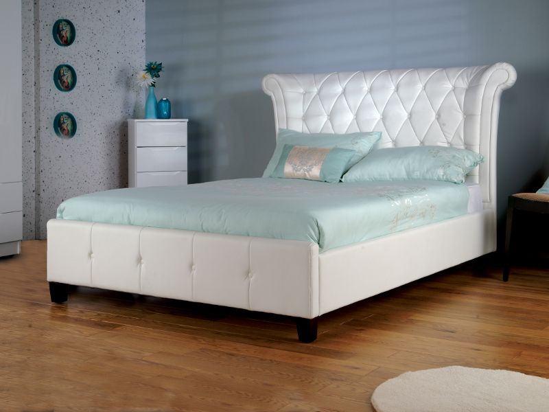 Limelight Epsilon White Faux Leather Bed Frame - Dublin Beds