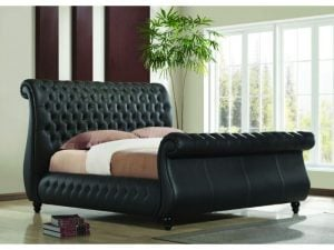 Norway-Black-Leather-Sleigh-Bed-Frame