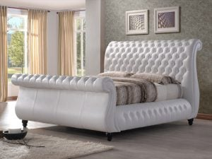 Norway-White-Leather-Sleigh-Bed-Frame