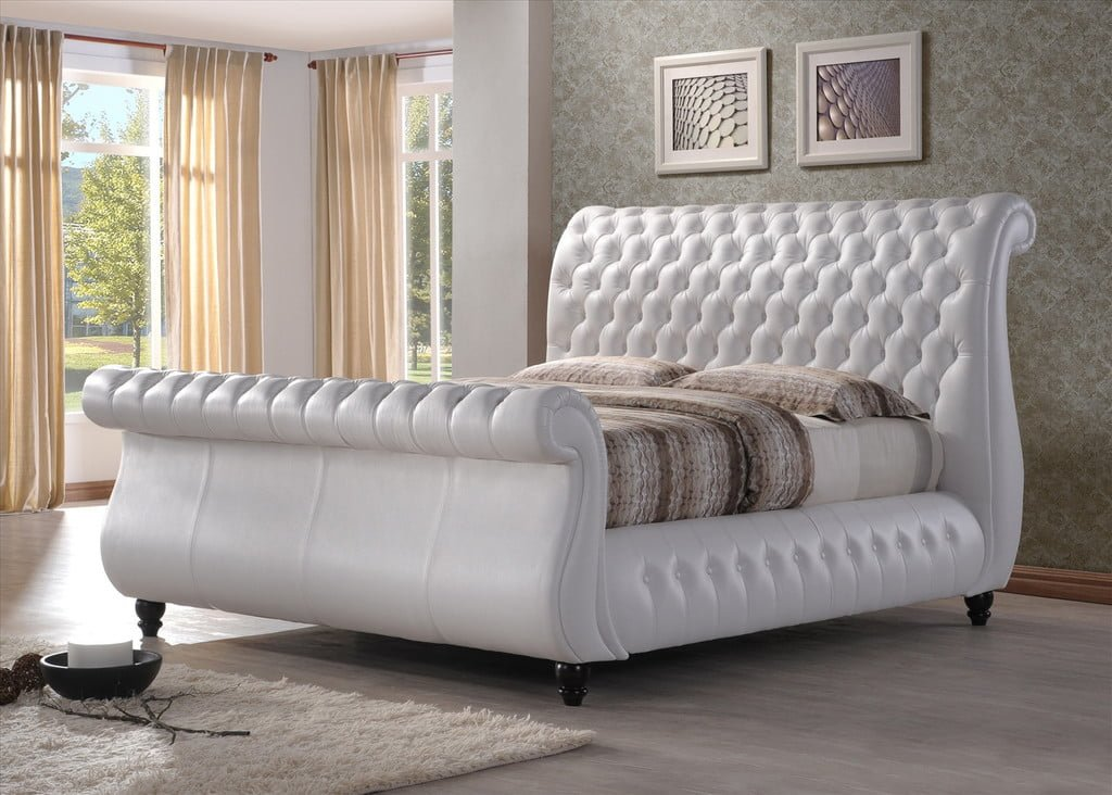 White Leather King Sleigh Bed