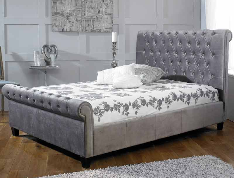Limelight Orbit Plush Silver Fabric Bed Frame - Dublin Beds