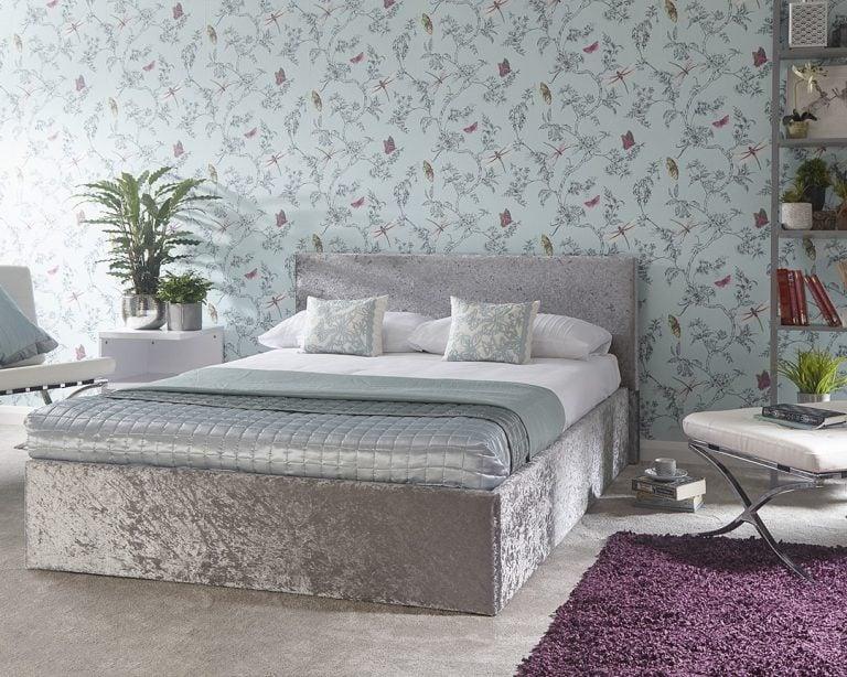 Arizona Grey Crushed Velvet Ottoman Bed Frame