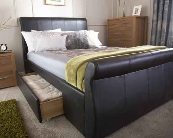 Maine Black Drawer Bed Frame