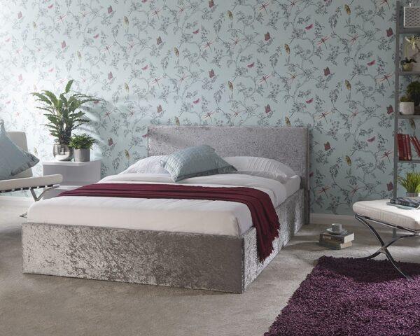 Ohio Grey Crushed Velvet Ottoman Bed Frame