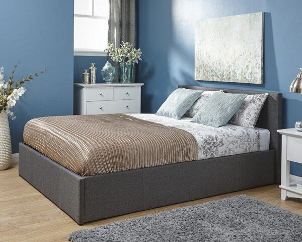 Ohio Grey Crushed Velvet Ottoman Bed